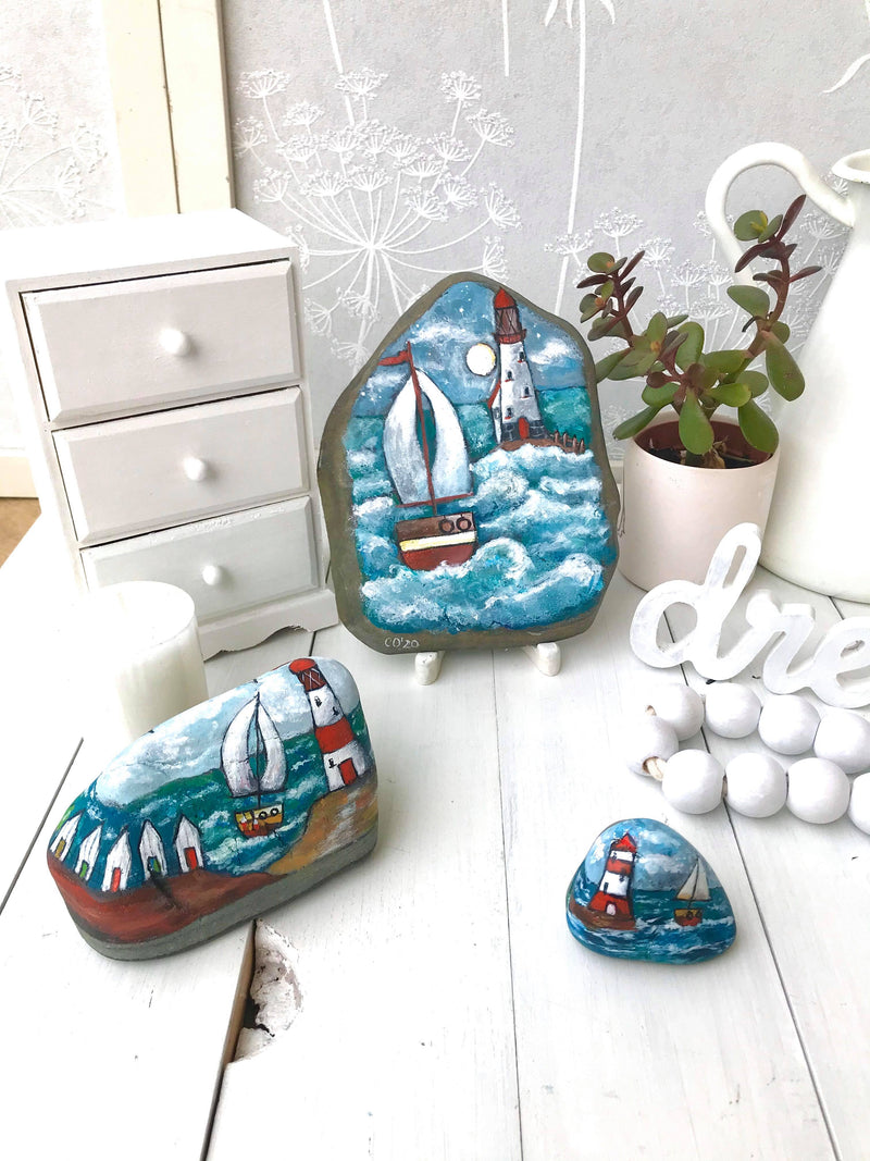 Boats at the Lighthouse- original home decoration painted rock by Christine Onward (FREE POSTAGE)