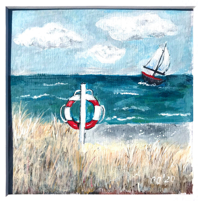 Morning in Denmark - framed wall art, beach house decoration, original acrylic painting by Christine Onward FREE POSTAGE