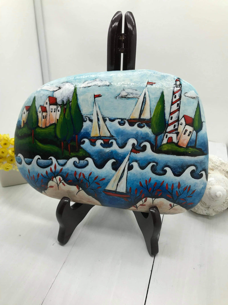SUMMER LOVE - original art decoration painted rock by Christine Onward (POSTAGE COST INCLUDED)