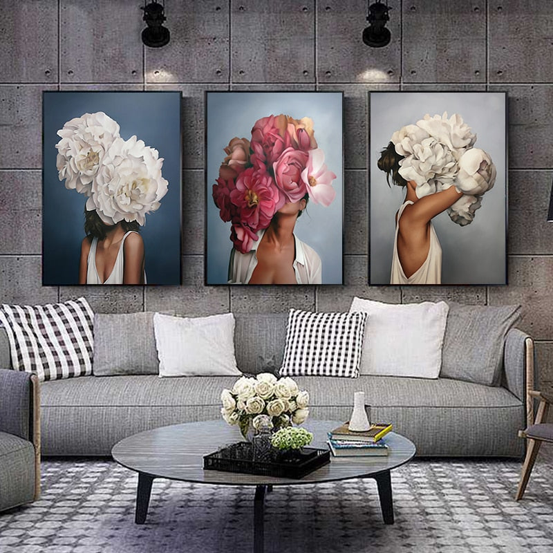 Decorative Pictures Women Abstract with Flowers