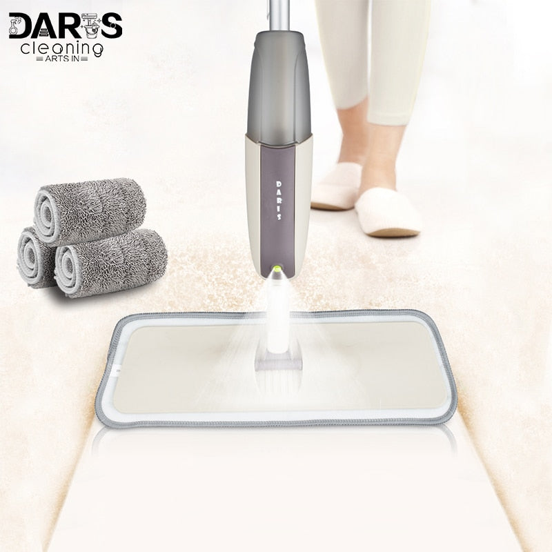 Spray Floor Mop with Reusable Microfiber Pads 360 Degree Handle Mop