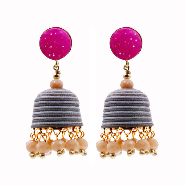 Valerie earrings - pink/grey
