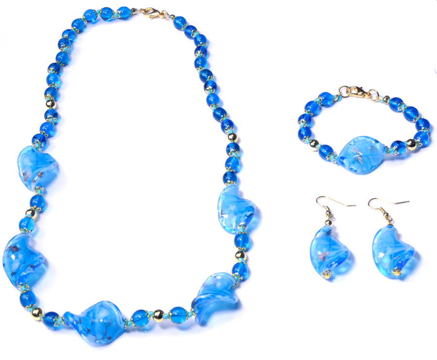 Asol Murano Glass Jewelry Set - Azure