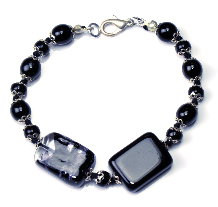 Valencia Murano Glass Jewelry Set - Black