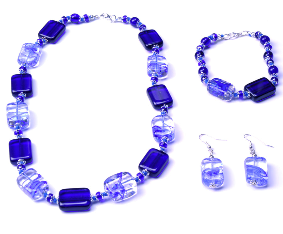 Valencia Murano Glass Set - Blue