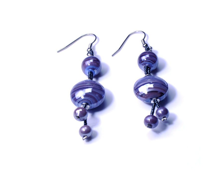 Olivia Murano Glass Earrings - Amethyst