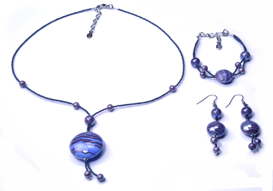 Olivia Murano Glass Jewelry Set - Amethyst