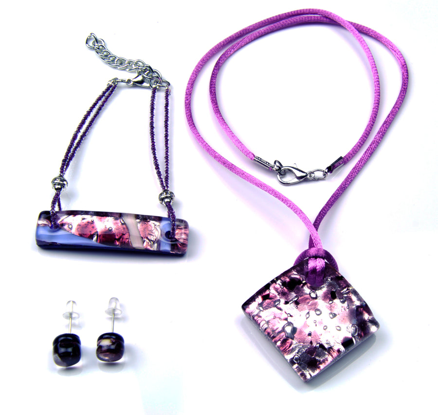 MURANO GLASS 3 PIECE JEWELRY SET PURPLE RUMBLE