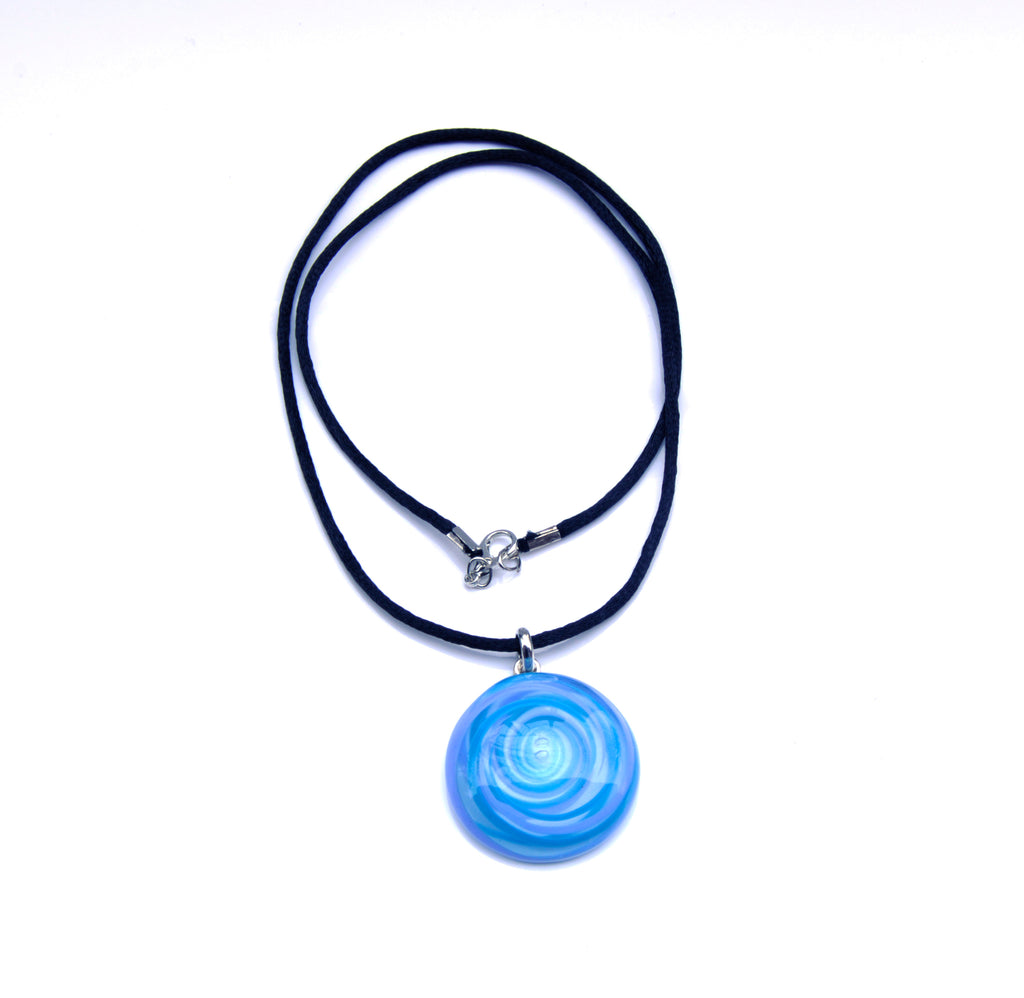 MURANO GLASS NECKLACE IN CURVED ROUND SHAPE - AZURE