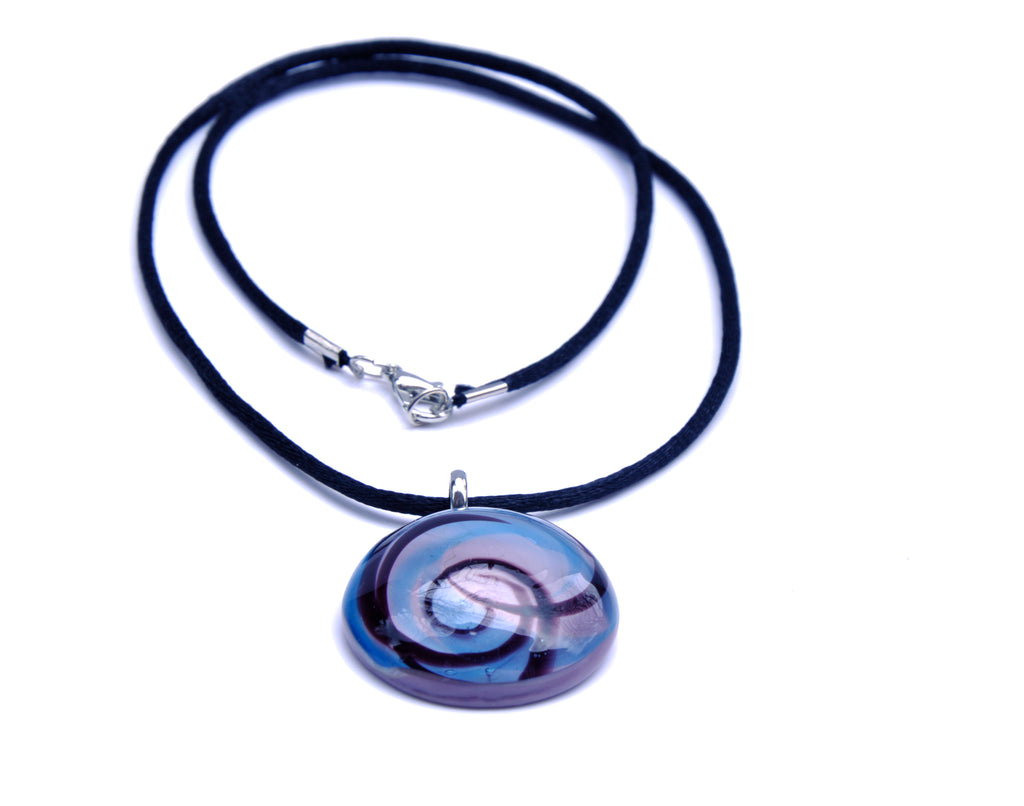 MURANO GLASS NECKLACE IN CURVED ROUND SHAPE - BLUE