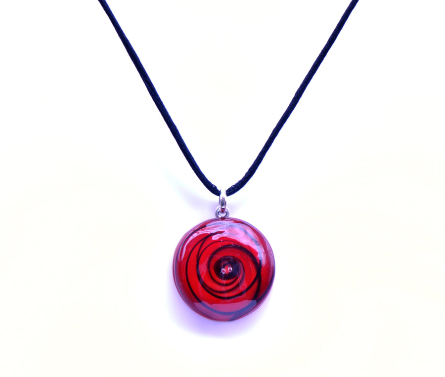 MURANO GLASS NECKLACE IN CURVED ROUND SHAPE - RED