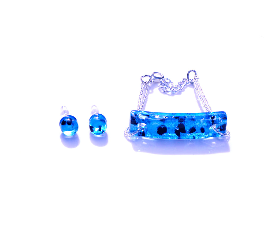 MURANO GLASS 2 PIECE JEWELRY SET AZURE