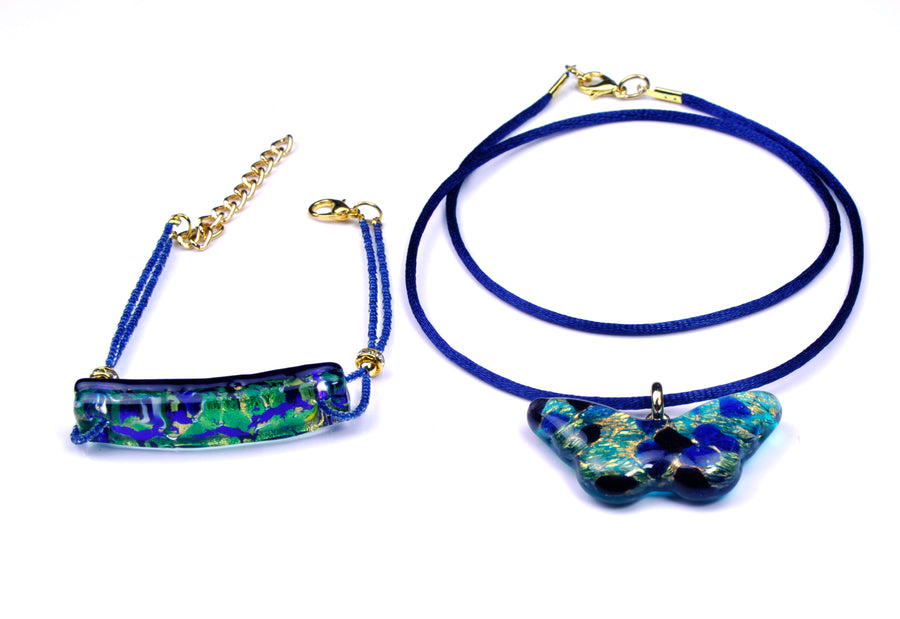 MURANO GLASS 2 PIECE JEWELRY SET BLUE BUTTERFLY