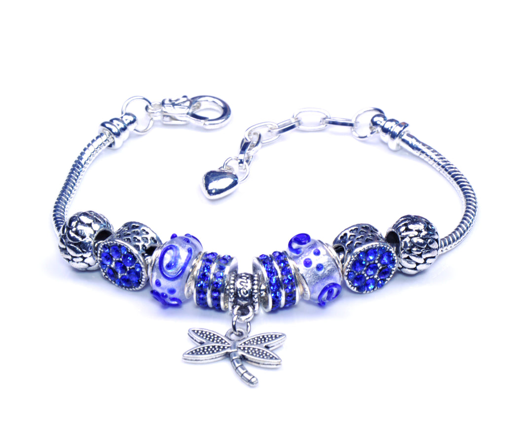 Italian Sterling Silver Murano Glass Charms with Bracelet (Pandora Style) - Dragonfly