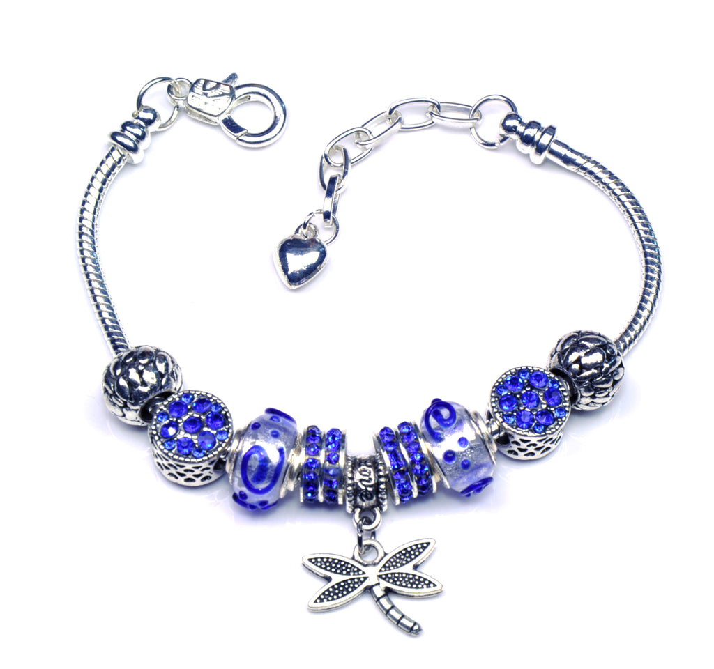f925ad1f8 Italian Sterling Silver Murano Glass Charms with Bracelet (Pandora Style) -  Dragonfly. Next