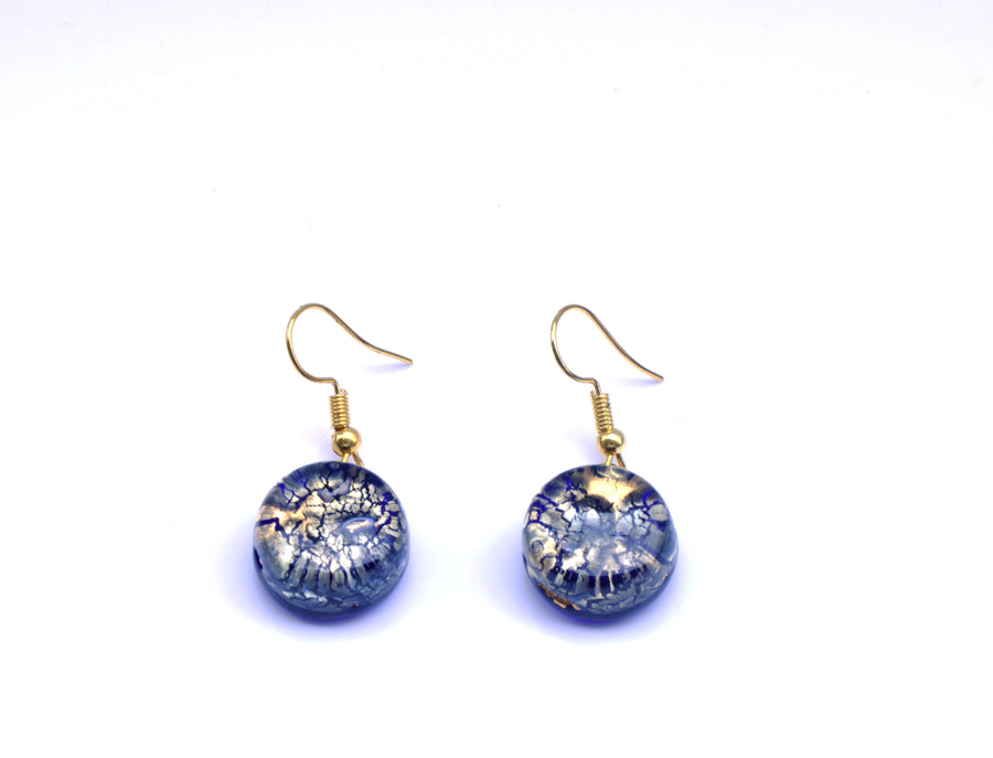 VENETIAN GLASS EARRINGS - AZURE GOLD