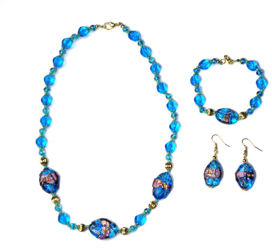 Anita Murano Glass Jewelry Set - Azure