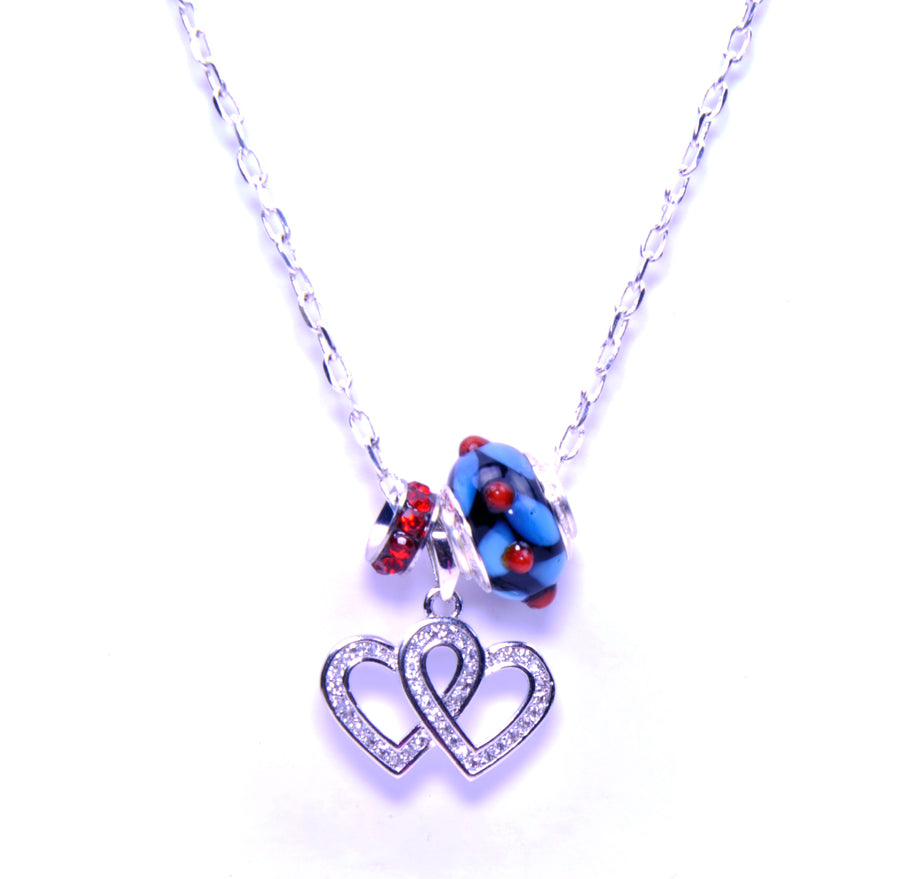 Murano Glass Pendant with Sterling Silver Pandora Style Charm - Heart-to-Heart Blue