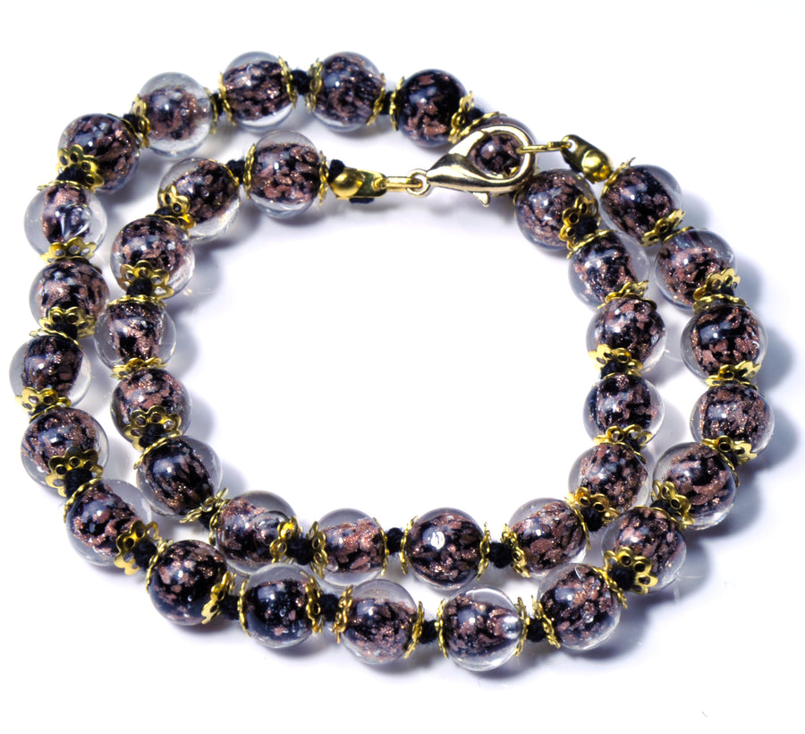 ALTA MURANO BEAD NECKLACE BLACK, 45 CM/17.5""
