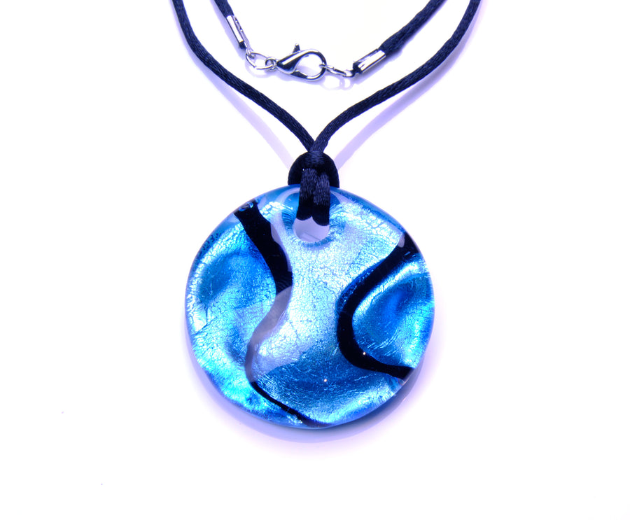 MURANO NECKLACE FANTASY COLORS IN ROUND SHAPE - AZURE