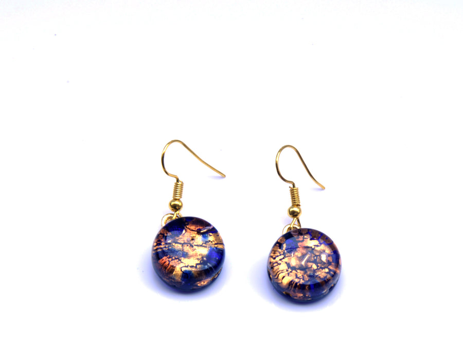 VENETIAN GLASS EARRINGS - BLUE GOLD