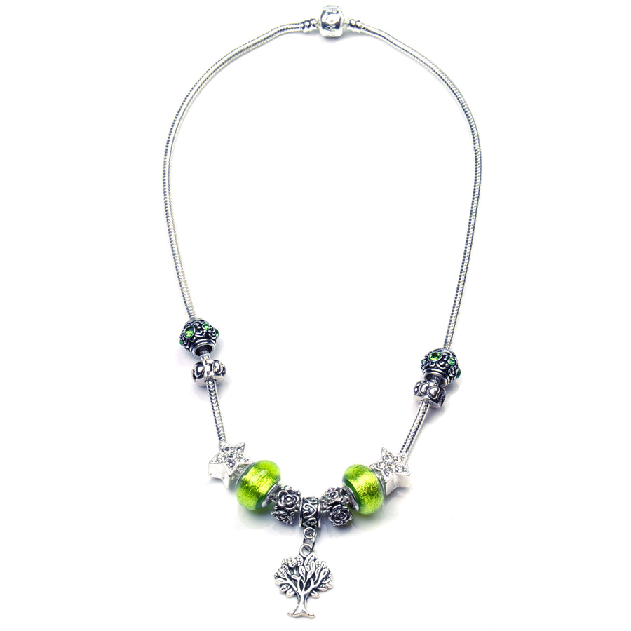Pandora Style Murano Glass Jewelry Set - Green Tree-of-Life