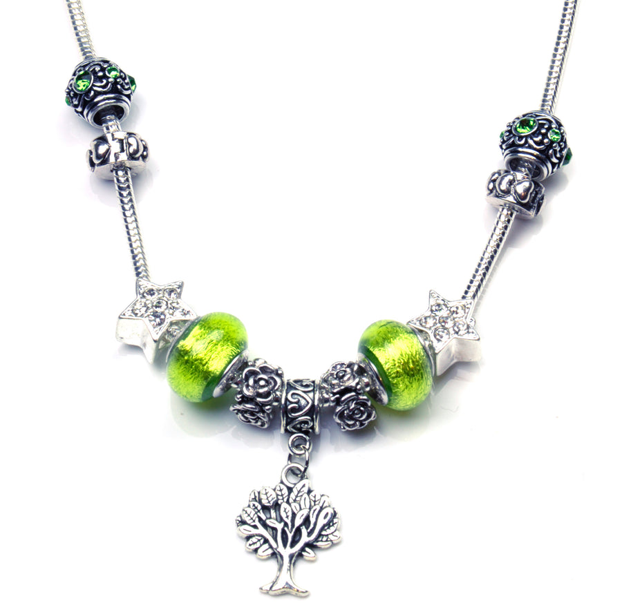Pandora Style Murano Glass Necklace - Green Tree-of-Life