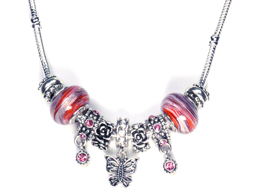 Pandora Style Murano Glass Necklace - Red Butterfly