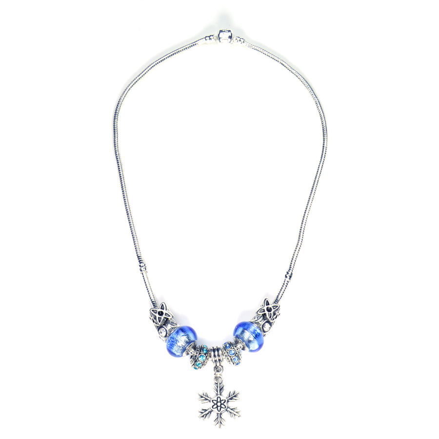 Pandora Style Murano Glass Necklace - Silver-Blue Snowflake