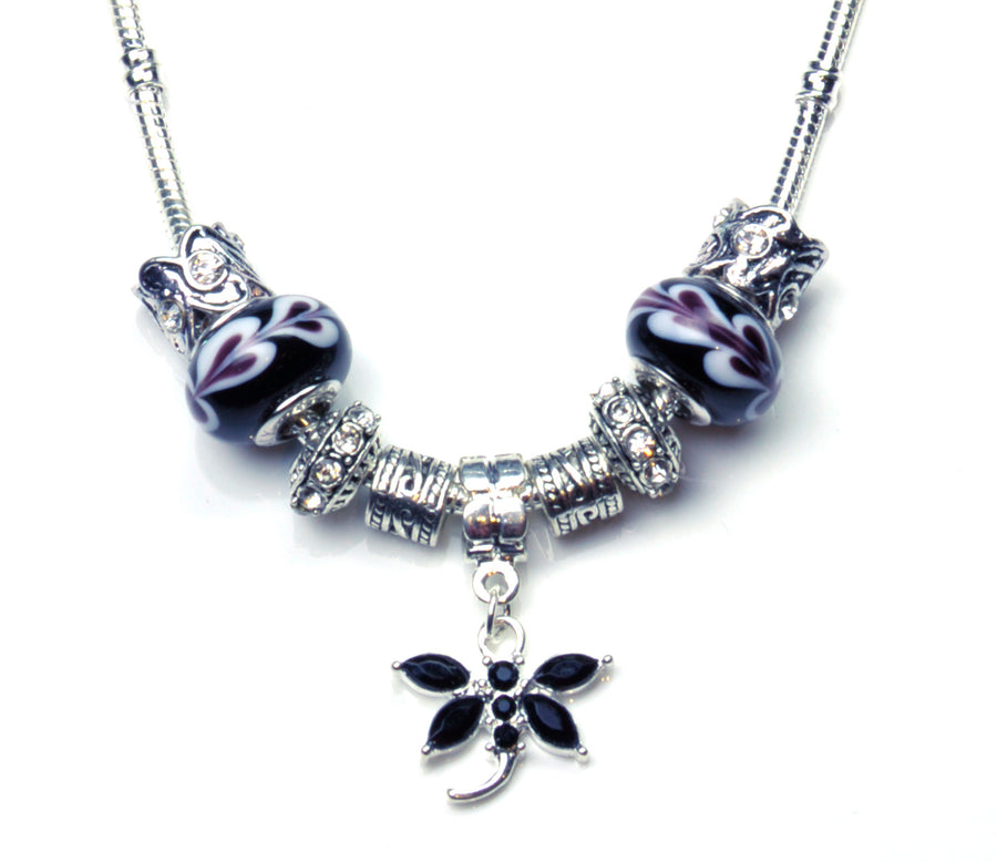 Pandora Style Murano Glass Necklace - Black Dragonfly