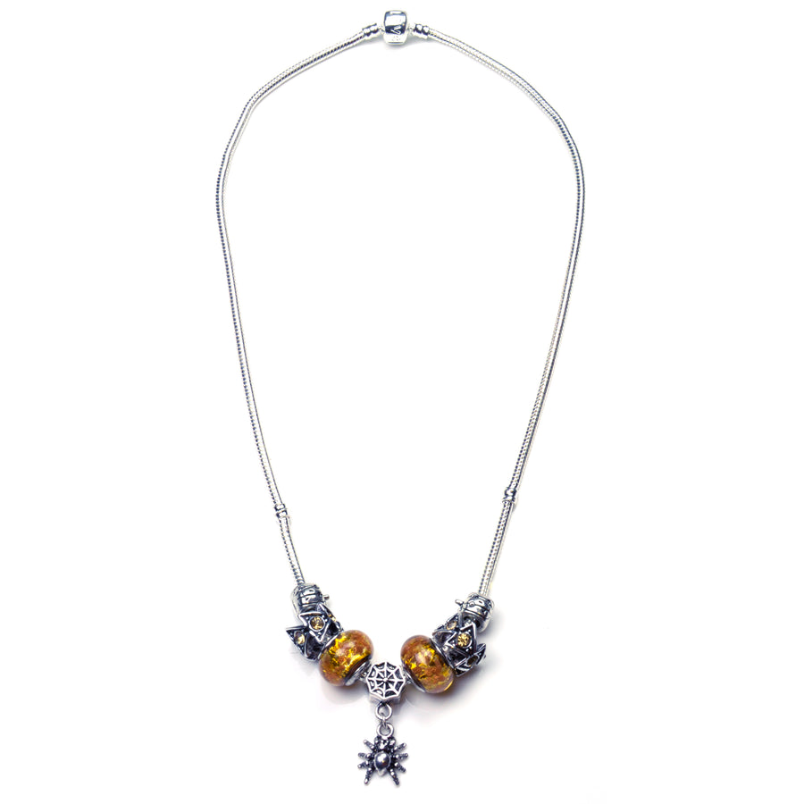 Pandora Style Murano Glass Necklace - Yellow Spider