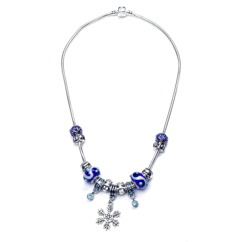 Pandora Style Murano Glass Necklace - Blue Snowflake