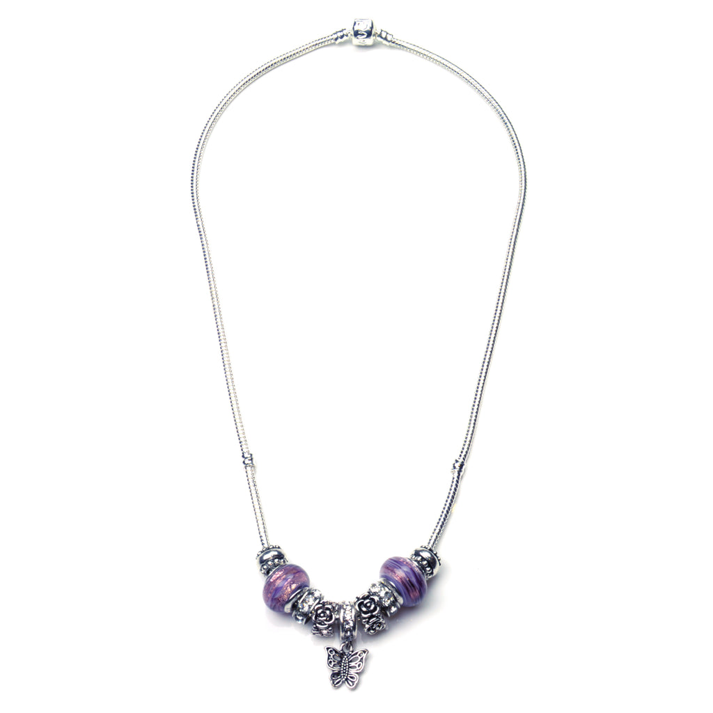 Pandora Style Murano Glass Necklace Butterfly