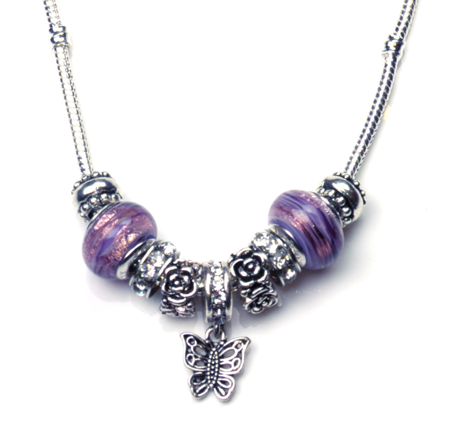 Pandora Style Murano Glass Jewelry Set - Amethyst Butterfly