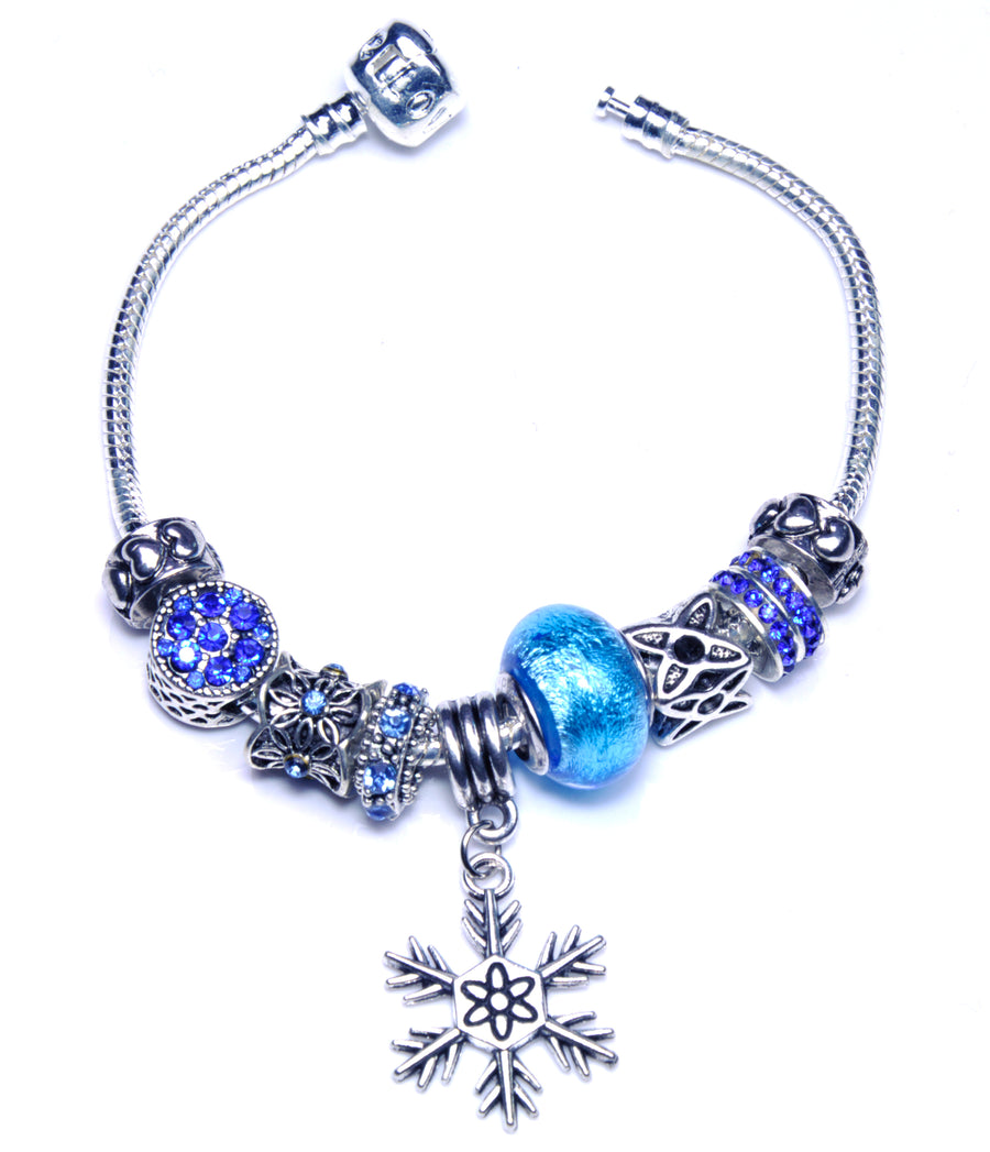 Pandora Style Bracelet with Sterling Silver Murano Glass Charm - Snowflake Blue