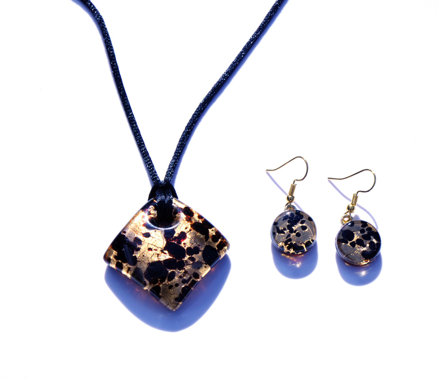 MURANO GLASS 2 PIECE JEWELRY SET GOLD RUMBLE