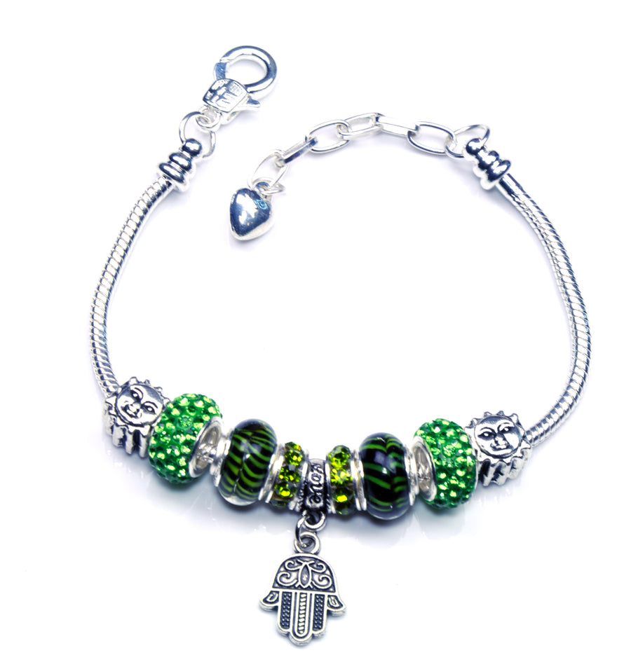 Italian Sterling Silver Murano Glass Charms with Bracelet (Pandora Style) - Eye of God