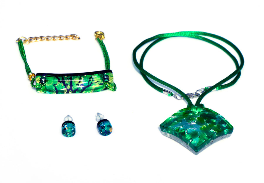 MURANO GLASS 3 PIECE JEWELRY SET GREEN RUMBLE