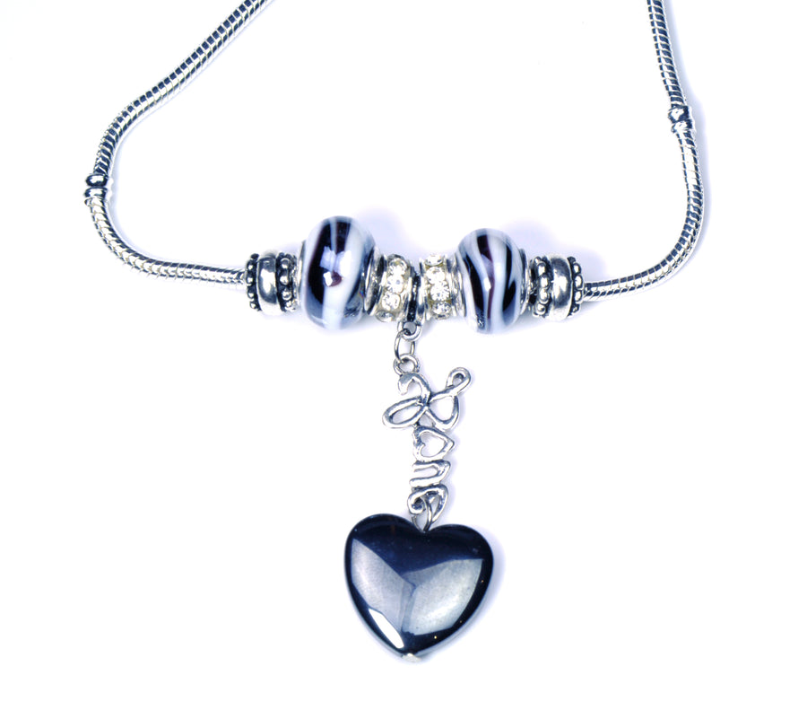 Pandora Style Murano Glass Necklace - Grey Heart