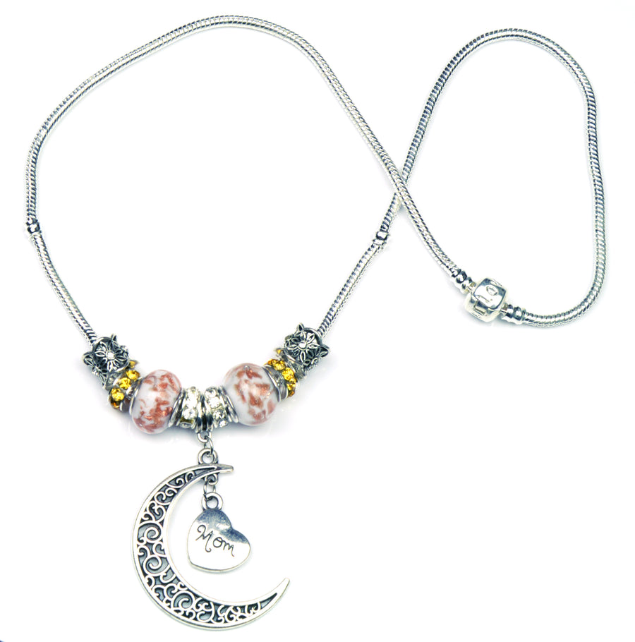 Pandora Style Murano Glass Necklace - Pink Heart & Moon