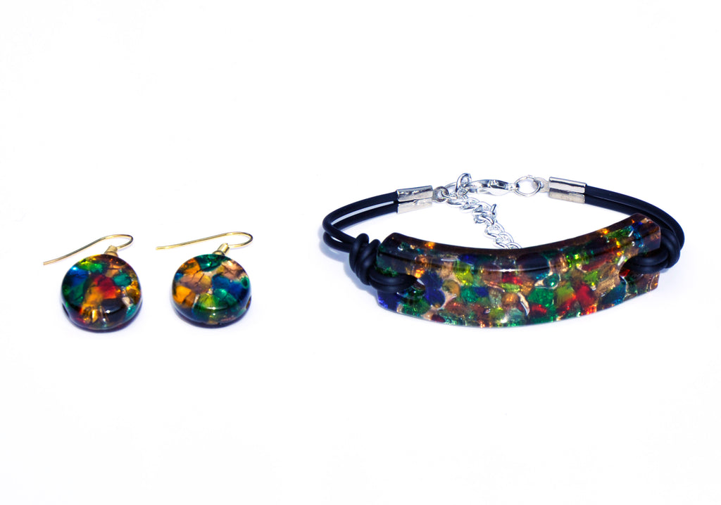 MURANO GLASS 2 PIECE JEWELRY SET MULTICOLOR