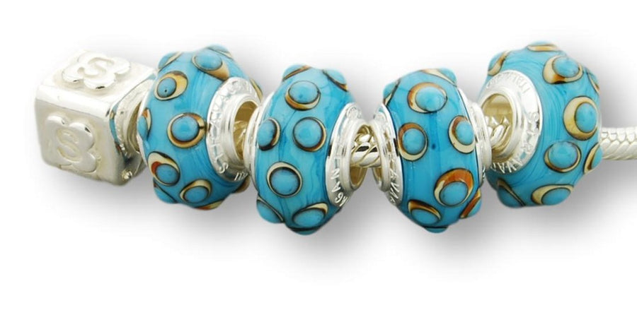 IVORY STERLING SILVER MURANO GLASS BEAD