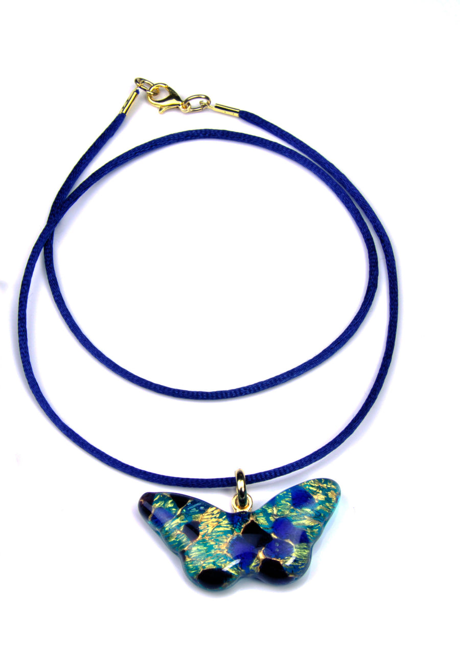 MURANO GLASS NECKLACE  BLUE BUTTERFLY