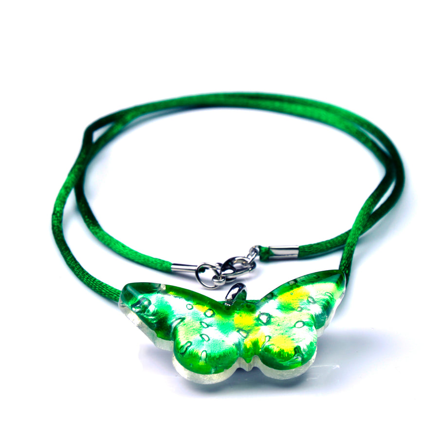 MURANO GLASS NECKLACE  GREEN BUTTERFLY