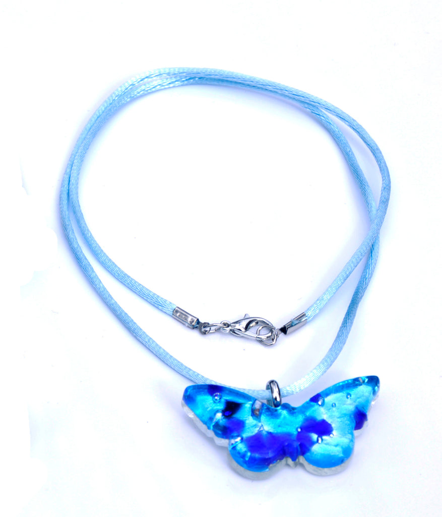 MURANO GLASS NECKLACE  AZURE BUTTERFLY