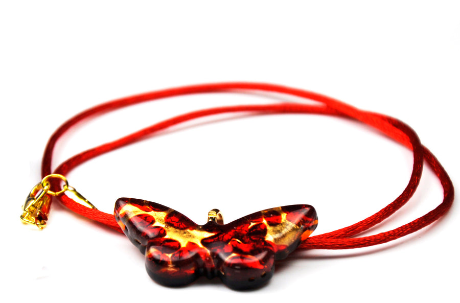 MURANO GLASS NECKLACE  RED BUTTERFLY