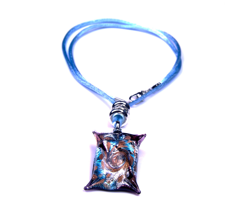 MURANO NECKLACE, IN SQUARE SHAPE AZURE