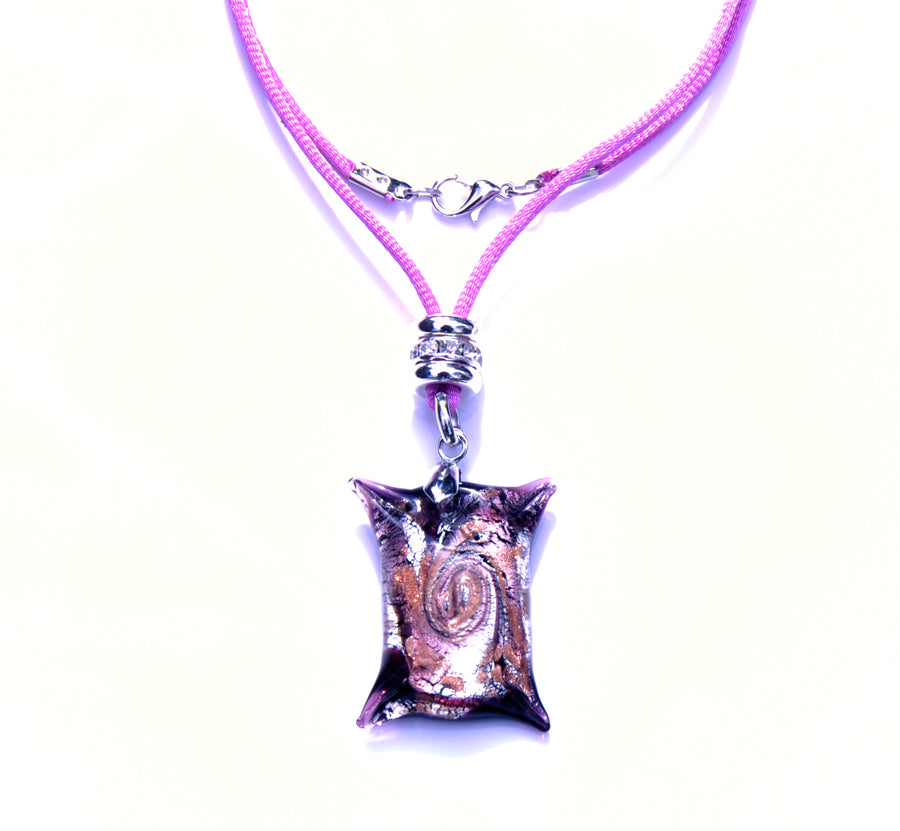 MURANO NECKLACE, IN SQUARE SHAPE PINK