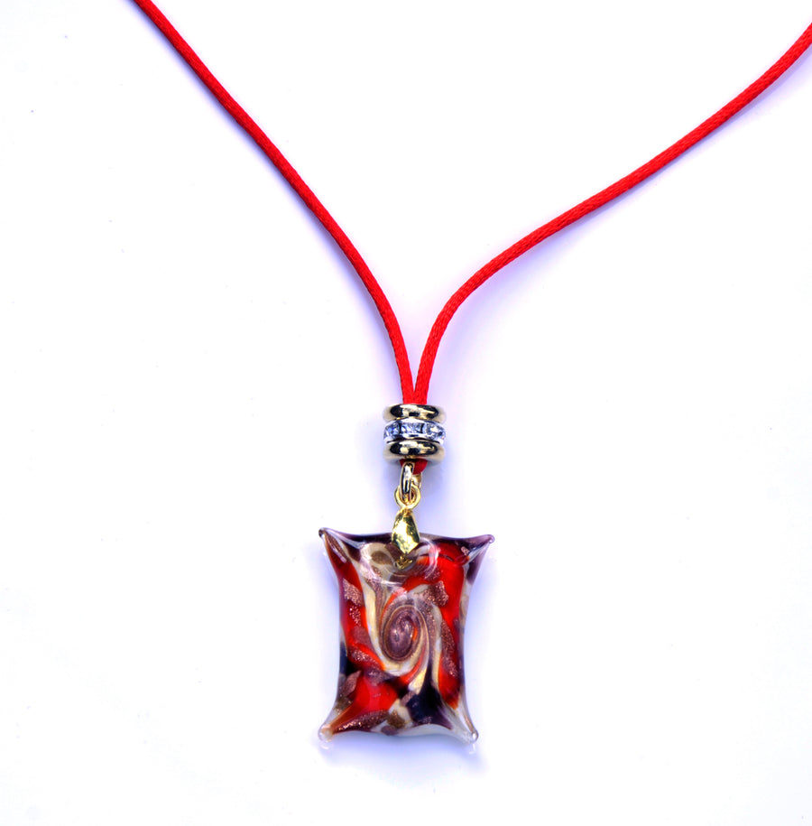 MURANO NECKLACE, IN SQUARE SHAPE RED