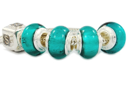 925 SILVER LEAF STERLING SILVER MURANO GLASS BEAD EMERALD BLUE